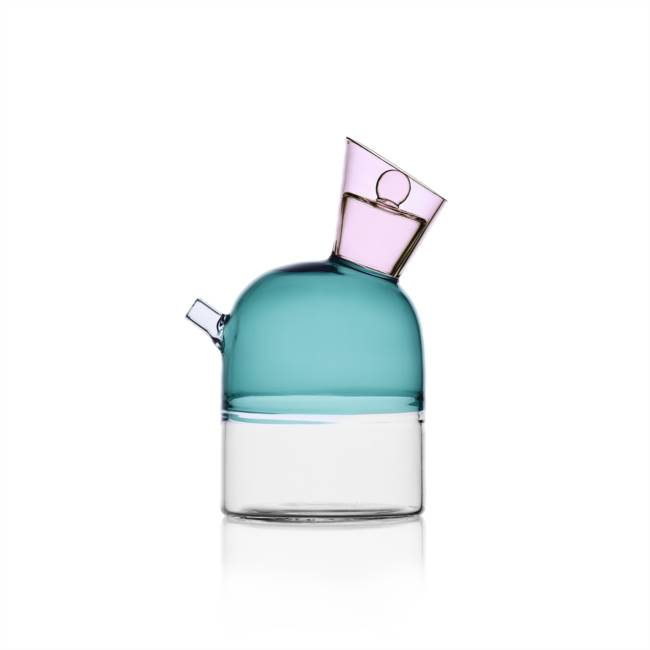 Oil Bottle Clear/petrolblue/pink